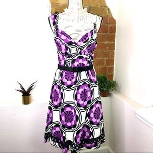 Sequin Hearts floral pattern fit silhouette dress.